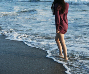 girl, beach, and sea image