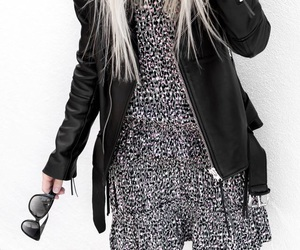 biker, black and white, and clothing image