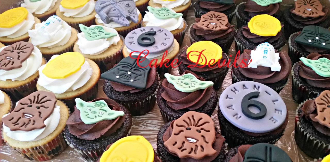 Incredible Star Wars Character Cupcake Toppers Fondant Handmade Edible Personalised Birthday Cards Fashionlily Jamesorg