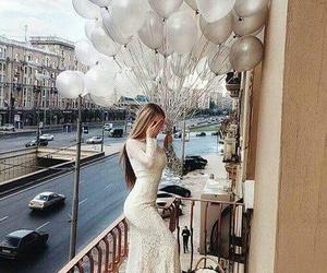 girl, balloons, and white image