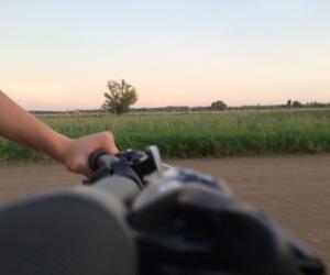 bike, dirt road, and dusk image