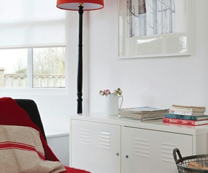 armchair, red chair, and white rooms image