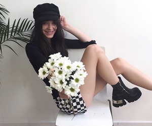 girl, pale, and flowers image
