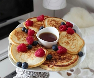 food, pancakes, and blueberries image