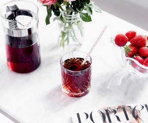 fruit, strawberry, and tea image