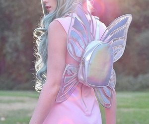 girl, hair, and butterfly image