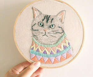 cat, crafts, and embroidery image