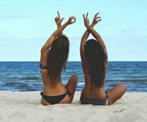 love, beach, and friends image