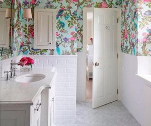 decor, bathroom, and flowers image