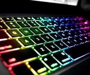 keyboard, rainbow, and colors image
