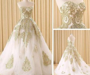 dress, wedding dress, and white dress image