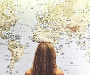discover, girl, and map image