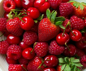 strawberry, fruit, and cherry image