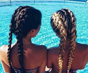 bikini, hair, and pool image