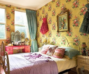 bedroom, dress, and floral image