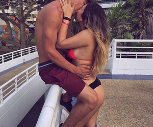 couple, kiss, and summer image