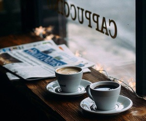 coffee, cafe, and newspaper image