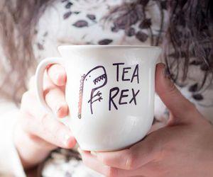 dinosaur, mug, and tea image