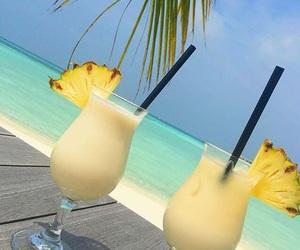 beach, drink, and ocean image