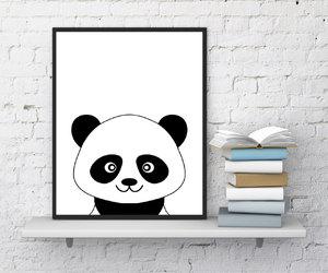 etsy, panda, and black white print image
