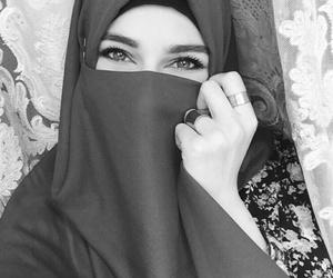 hijab, eyes, and girl image