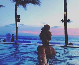 summer, couple, and pool image