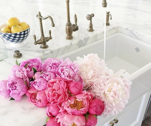 flowers, bathroom, and rose image