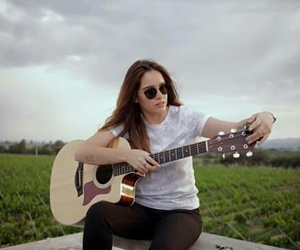 clouds, guitar, and sunglasses image