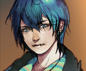 blue hair, boy, and male image