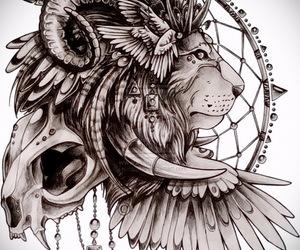 lion, tattoo, and art image