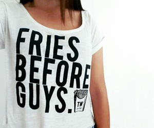 girl, t shirt, and fries before guys image