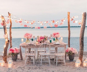 beach, flowers, and decoration image