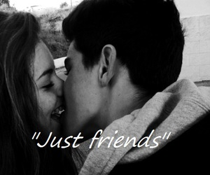couple, just friends, and kiss image
