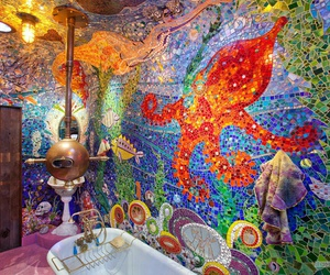 bathroom, colors, and yellow submarine image
