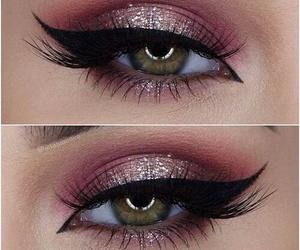 eyeliner, brows, and girl image