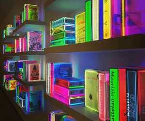 books, colors, and neon light image