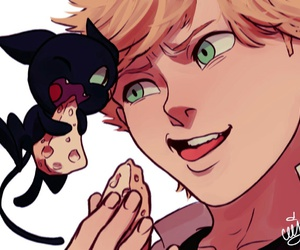 Adrien, miraculous ladybug, and plagg image