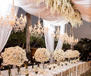 candels, flowers, and party image