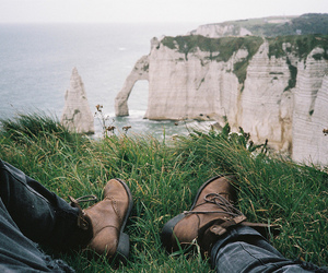 shoes, cliff, and nature image