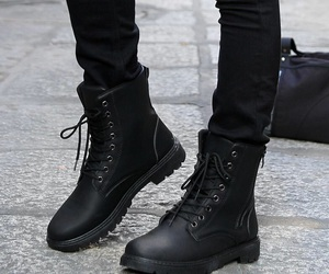 black, boots, and style image