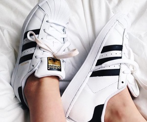 adidas, superstar, and black and white image