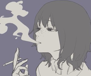 anime, anime girl, and smoke image