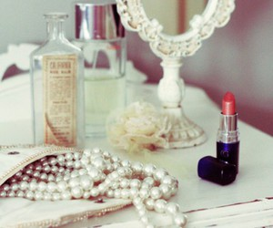 make up, pearls, and mirror image