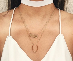 gold necklaces, white choker necklace, and white flowy tank top image
