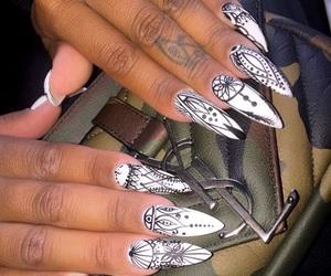 acrylic, black, and nail art image