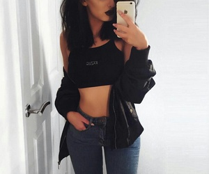black lipstick, blue ripped jeans, and nose piercing image