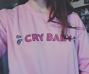 pink, tumblr, and cry baby image