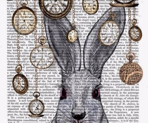 drawing, rabbit, and alice in wonderland image