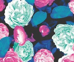 blue, mintgreen, and flowers image