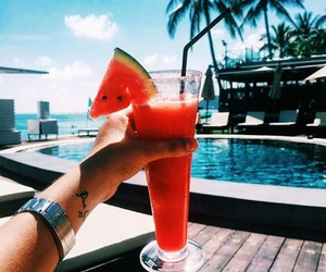 drink, watermelon, and beach image